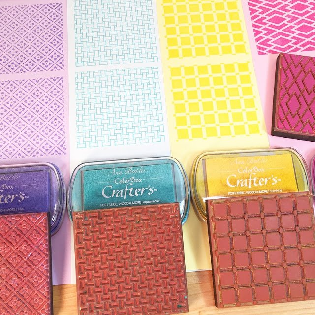 Stamp Faux Quilt patterns on colored paper with colored ink Ann Butler Designs Faux Quilting Stamps Creatively Beth #creativelybeth #annbutlerdesigns #stamping #homedecor #DIY