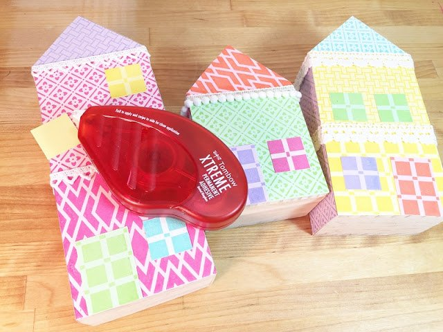 Attach doors and windows in contrasting colors Ann Butler Designs Faux Quilting Stamps Creatively Beth #creativelybeth #annbutlerdesigns #stamping #homedecor #DIY Quilt Block Inspired Home Sweet Home Decor