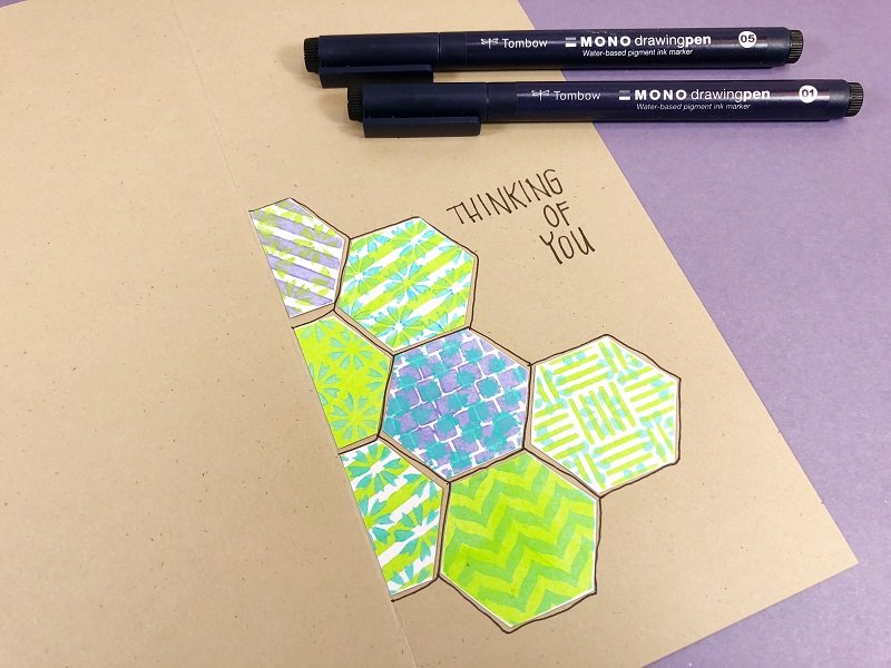 Outline the hexagons and write a message with Tombow Pens Creatively Beth #creativelybeth #annbutlerdesigns #cards #stencils #hexagons