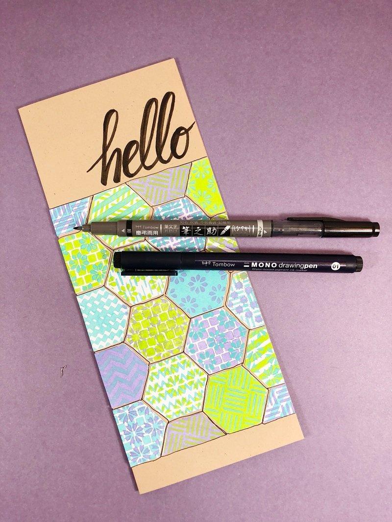 Use Tombow Pens to create a Hello message on the Hexagon Hello Card Creatively Beth #creativelybeth #annbutlerdesigns #cards #stencils #hexagons