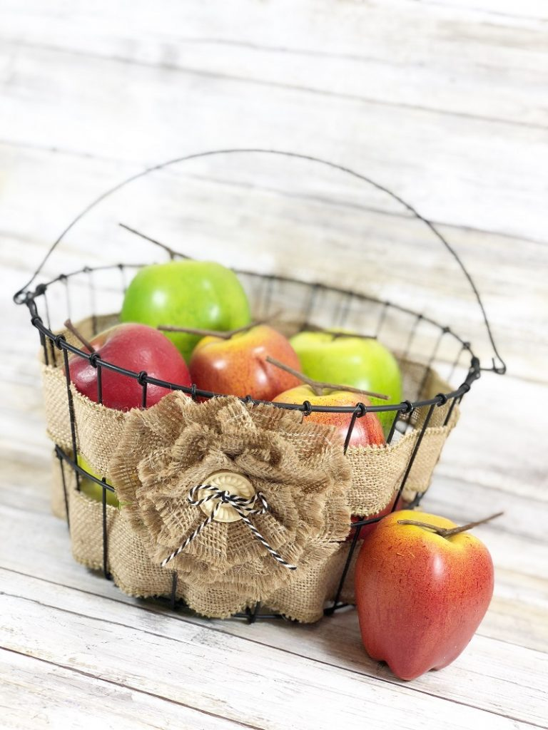 Woven Burlap Farmhouse Basket by Creatively Beth