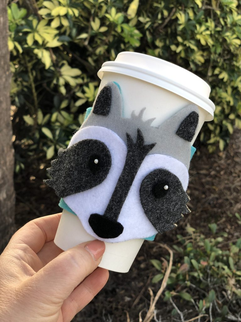 Creatively Beth DIY Woodland Raccoon Coffee Cozy Craft Lightning