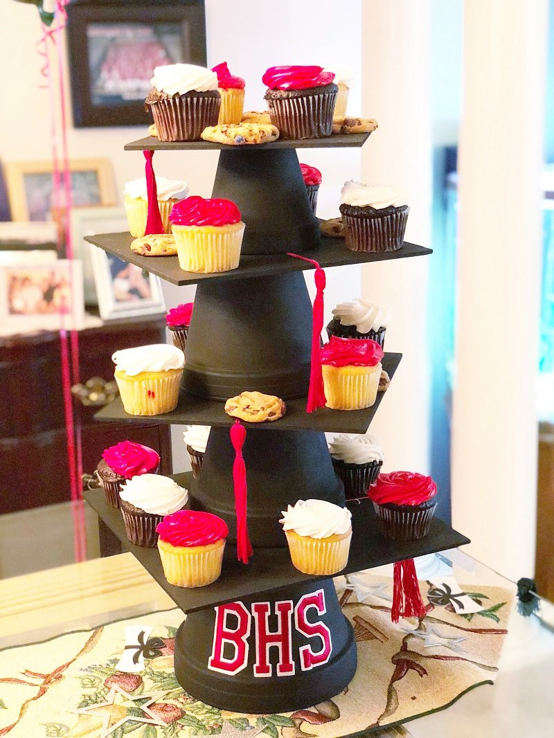 DIY Graduation Cap Cupcake Stand and Cake Plate Creatively Beth