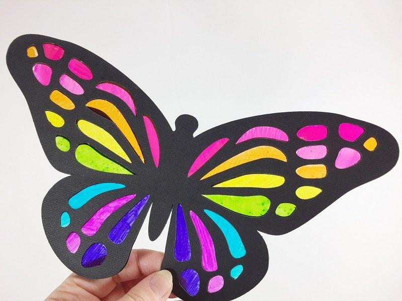 Kids Craft Butterfly Suncatchers with Cricut and Tombow by Creatively Beth