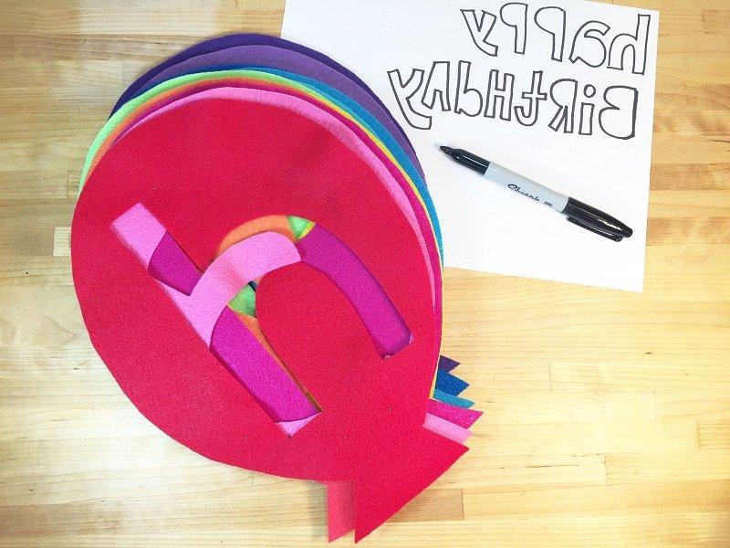 Customize a Happy Birthday Balloon Banner from Kunin Felt with Creatively Beth