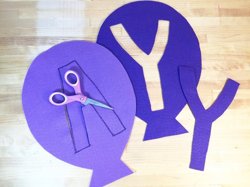 Create a modern Happy Birthday Balloon Banner by reserve cutting the felt letters with Creatively Beth