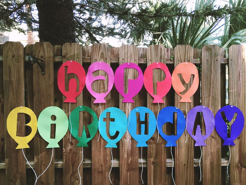 Modern reverse cut Kunin Felt Happy Birthday Balloon Banner created by Creatively Beth