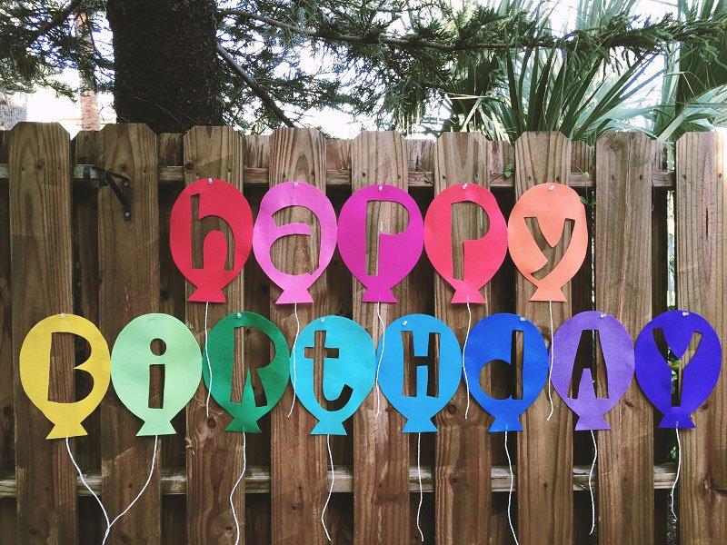 Modern reverse cut Kunin Felt Happy Birthday Balloon Banner created by Creatively Beth