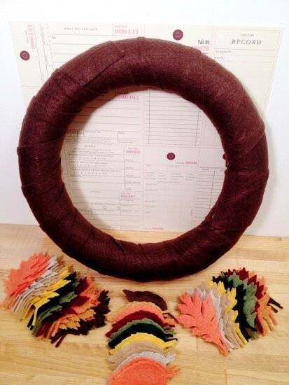 Creatively Beth cut Kunin Felt strips and wrap around wreath form #creativelybeth #wreath #feltcrafts #autumnleaves #fallleaves #fallcrafts
