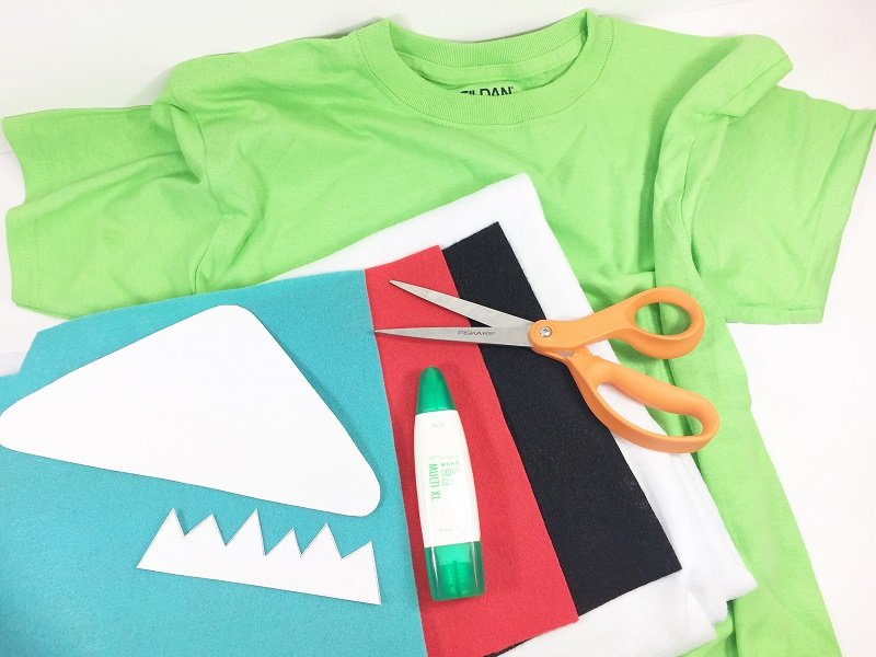 Supplies needed to create a Monsters Inc Mike Wazowski t-shirt costume