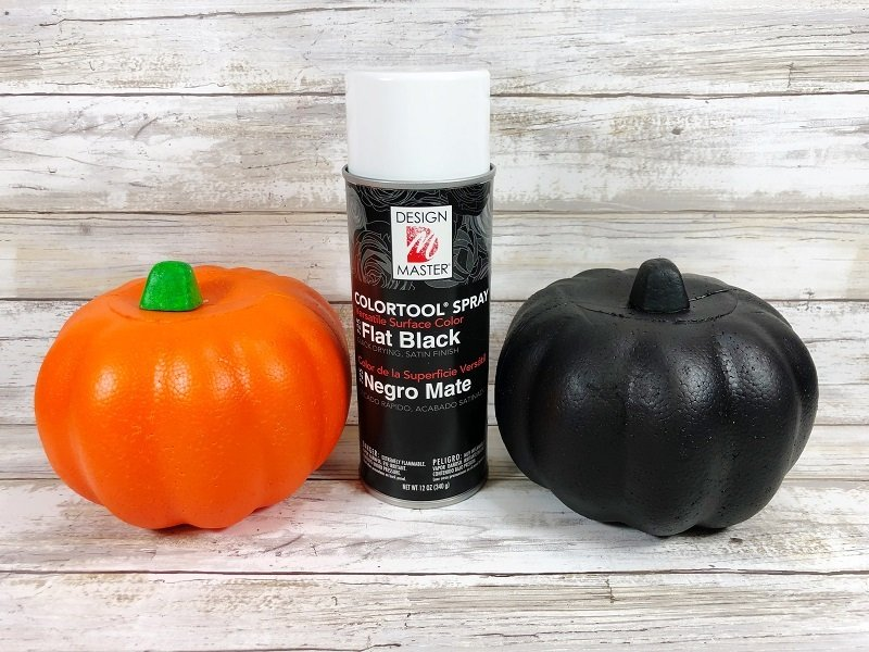 Creatively Beth spray paint Dollar Tree pumpkins black