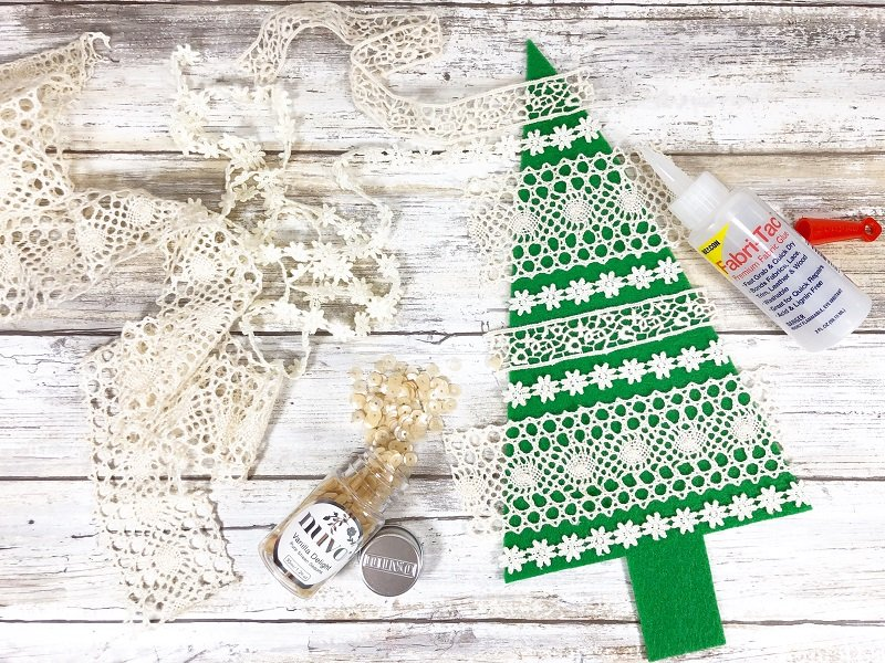 Creatively Beth Add lace and trims to the Christmas Tress with Beacon Adhesives Fabri-Tac #ffwpillowparty2019 #creativelybeth #polyfil #fairfieldworld