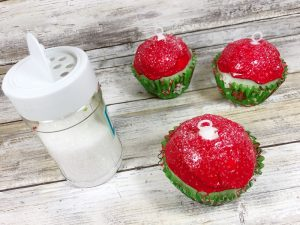 Clear Glitter Sprinkles Decorate the Cupcakes and make them sparkle #creativelybeth #dollartreecrafts #christmascrafts #christmascupcake