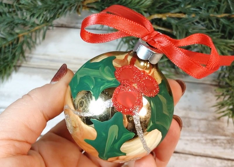 Hand-Painted Holly Christmas Ornament #creativelybeth #decoart #handpainted #christmasornaments #handmade