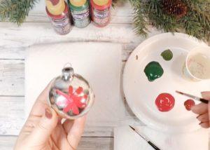 Vintage Hand-Painted Poinsettia Ornament #creativelybeth #decoart #handpainted #christmasornaments #handmade