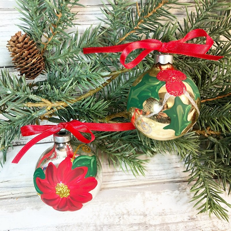 Easy Hand-Painted Glass Ornaments A 30 Minute DIY #creativelybeth #decoart #handpainted #christmasornaments #handmade