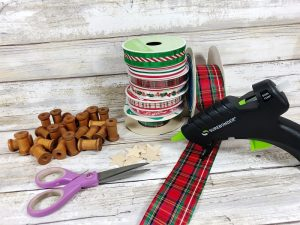 Supplies Needed to create a Spool Christmas Tree Creatively Beth #creativelybeth #christmasornaments #handmade #30minutecrafts #christmascrafts