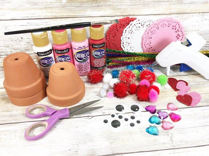 Materials Clay Pot Love Bugs Craft Creatively Beth #creativelybeth #dollartreecrafts #kidscrafts #claypotcrafts #valentinesdaycrafts