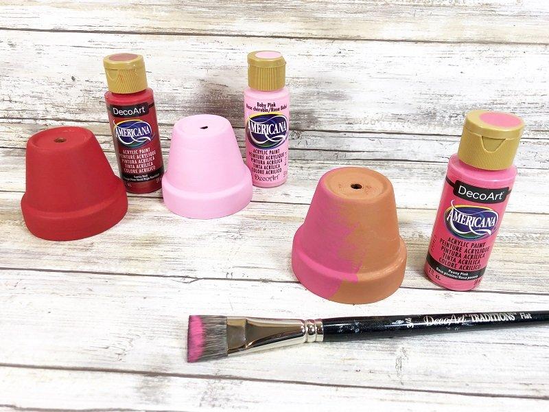 Paint Clay Pots Clay Pot Love Bugs Craft Creatively Beth #creativelybeth #dollartreecrafts #kidscrafts #claypotcrafts #valentinesdaycrafts