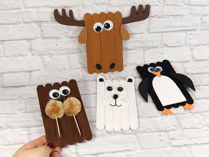 Quick and Easy Craft Stick Arctic Animals Creatively Beth #creativelybeth #craftstickcrafts #dollartreecrafts #kidscrafts