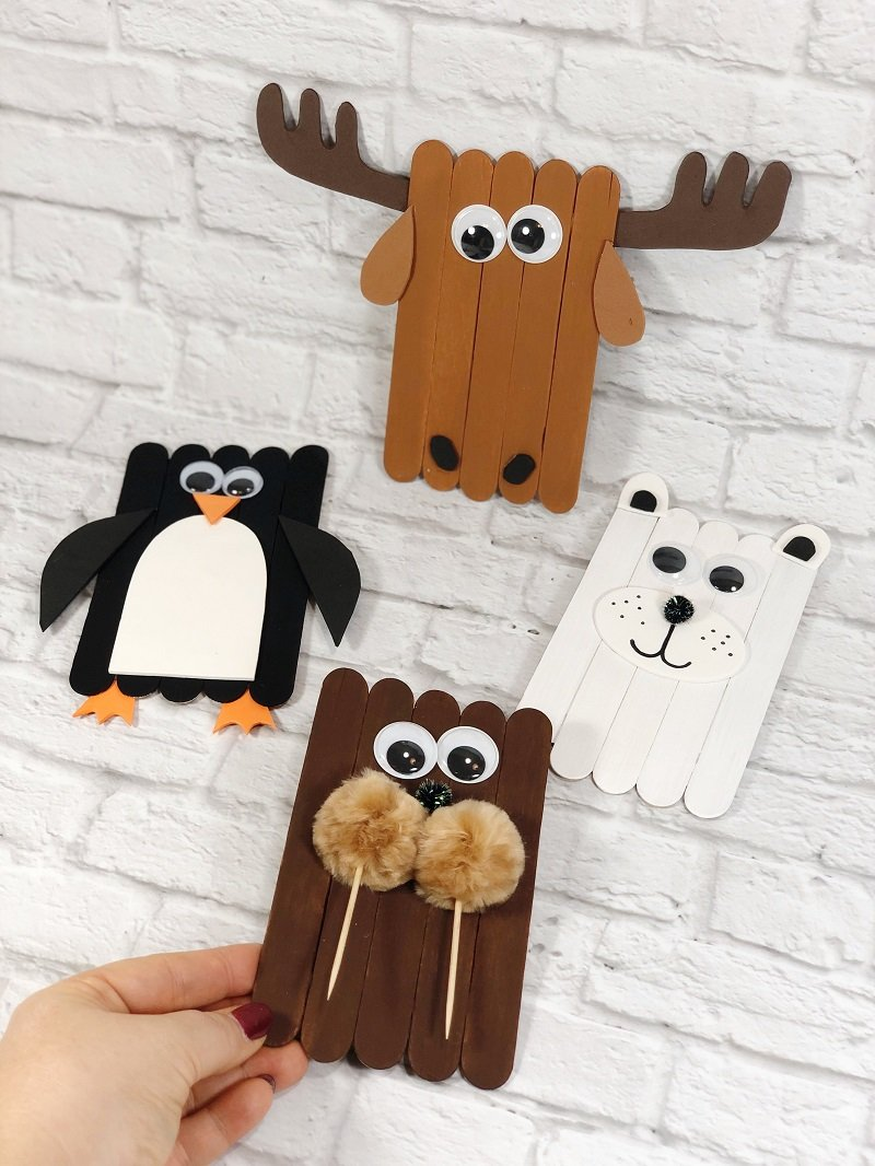 Dollar Tree Craft Stick Arctic Animals Creatively Beth #creativelybeth #craftstickcrafts #dollartreecrafts #kidscrafts