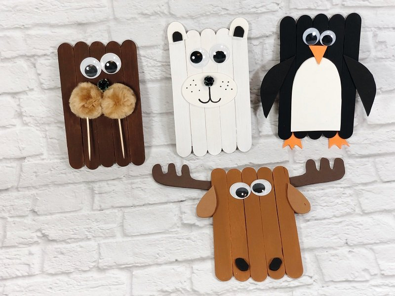Craft with Kids Craft Stick Arctic Animals Creatively Beth #creativelybeth #craftstickcrafts #dollartreecrafts #kidscrafts