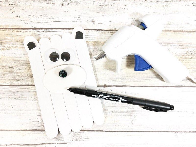 Polar Bear Craft Stick Arctic Animals Creatively Beth #creativelybeth #craftstickcrafts #dollartreecrafts #kidscrafts