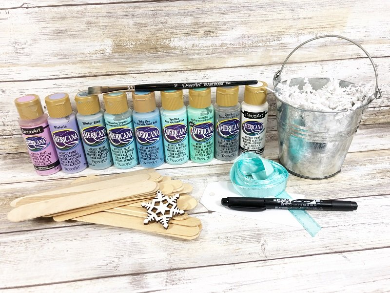 Materials for Craft Stick Winter Bucket List Creatively Beth #creativelybeth #wintercrafts #dollartreecrafts #kidscrafts