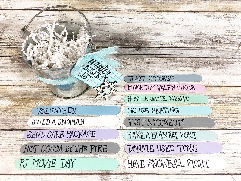 Dollar Tree Craft Stick Winter Bucket List Creatively Beth #creativelybeth #wintercrafts #dollartreecrafts #kidscrafts