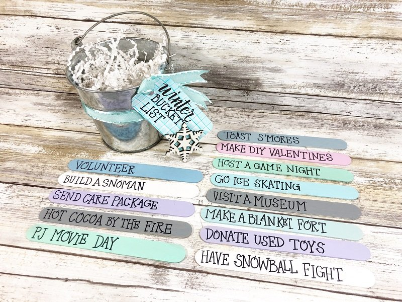 Twelve Activities for Craft Stick Winter Bucket List Creatively Beth #creativelybeth #wintercrafts #dollartreecrafts #kidscrafts