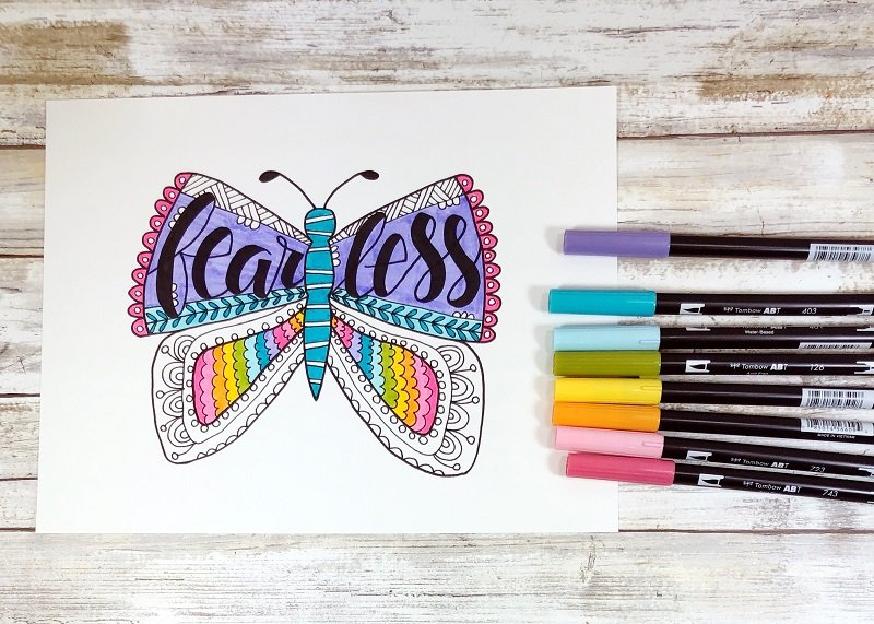 Adding a pastel rainbow of color Fearless Butterfly Free Printable from Creatively Beth #freeprintable #butterfly #onelittleword #drawing #doodle #handlettering
