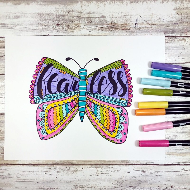 Fearless Butterfly Free Printable from Creatively Beth #freeprintable #butterfly #onelittleword #drawing #doodle #handlettering