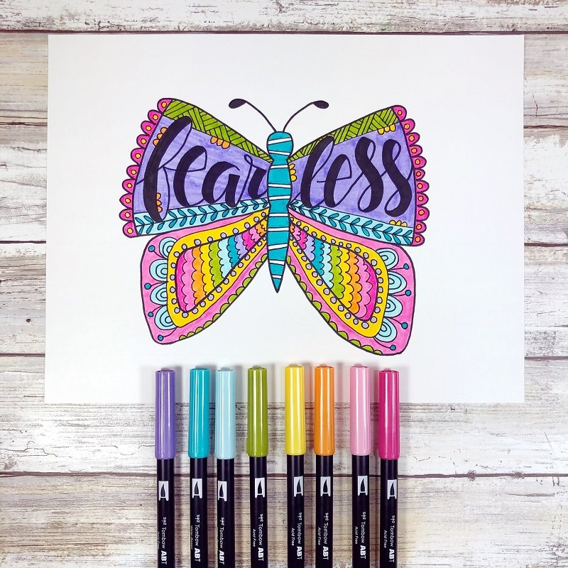 Lettering with Tombow Dual Brush Pens Fearless Butterfly Free Printable from Creatively Beth #freeprintable #butterfly #onelittleword #drawing #doodle #handlettering