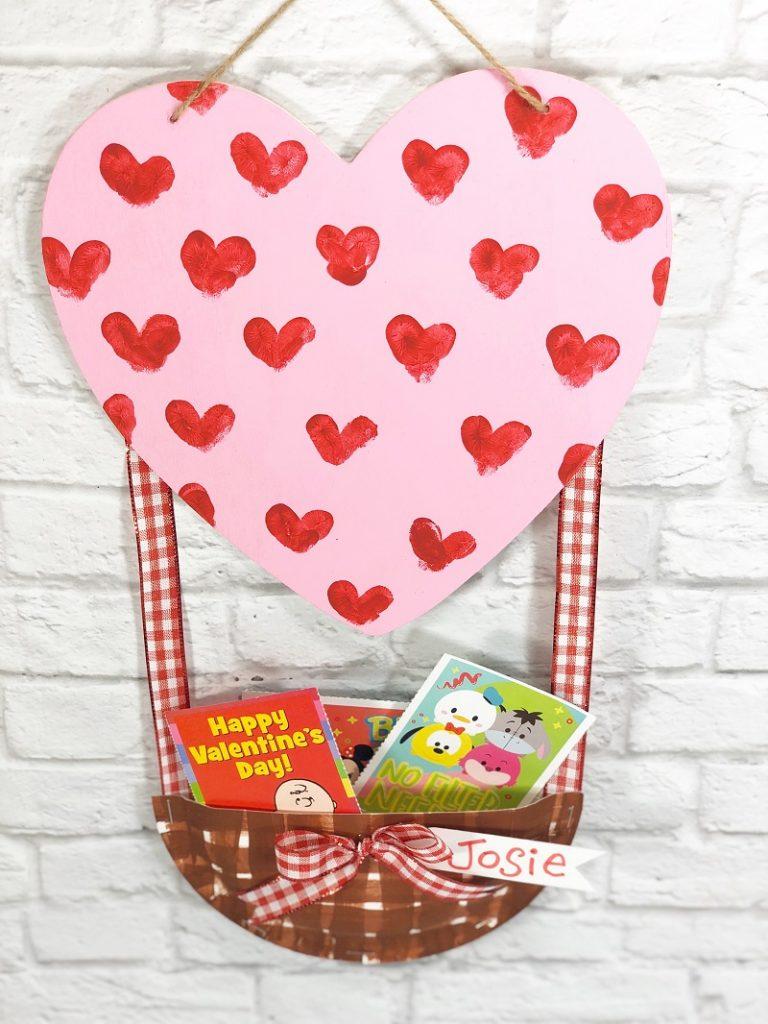 Quick and Easy Hot Air Balloon Valentine Mailbox Creatively Beth #creativelybeth #dollartreecrafts #kidscrafts #valentinesdaycrafts