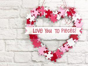 Cute Kids Craft Puzzle Piece Heart Shaped Wreath Creatively Beth #creativelybeth #dollartreecrafts #heart #valentinesdaycrafts #kidscrafts