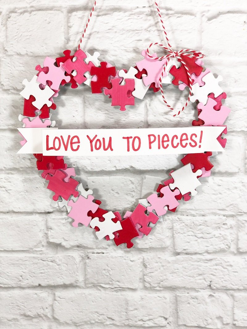 Dollar Tree Puzzle Piece Heart Shaped Wreath Creatively Beth #creativelybeth #dollartreecrafts #heart #valentinesdaycrafts #kidscrafts