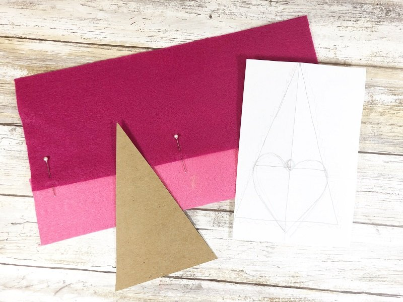 Measure and cut felt for Gnomes Creatively Beth #creativelybeth #polyfil #gnomes #stuffies #valentinesdaycrafts