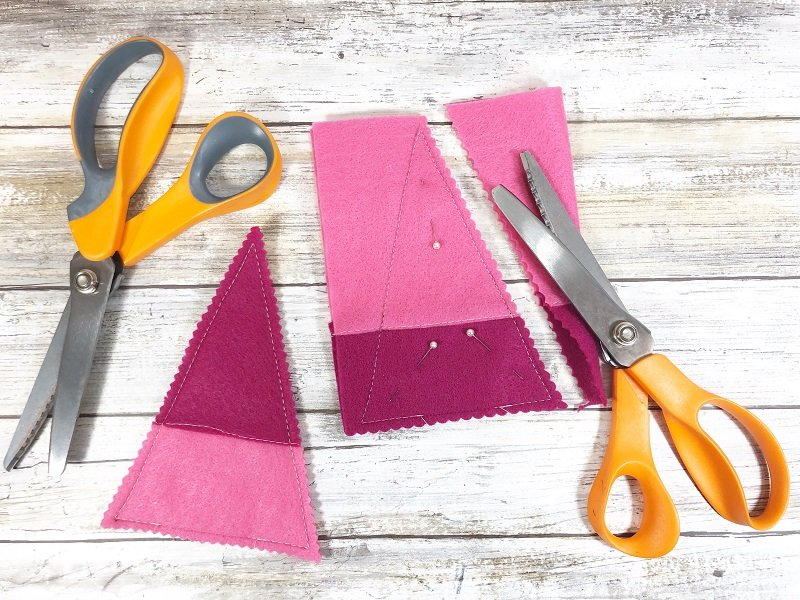 Cut out Stuffies with pinking shears Creatively Beth #creativelybeth #polyfil #gnomes #stuffies #valentinesdaycrafts