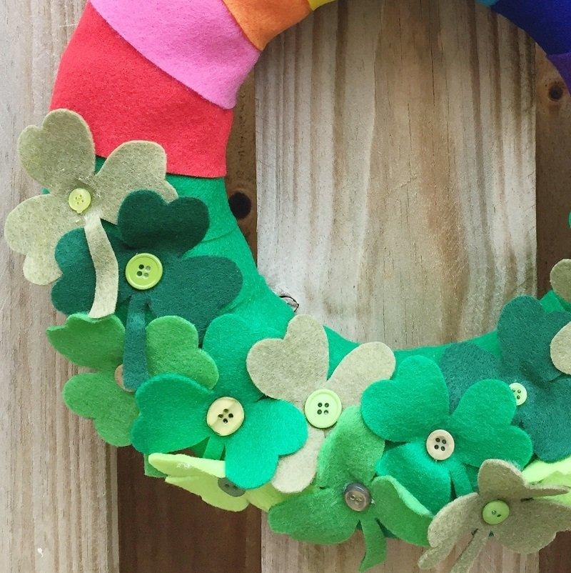 Lucky Rainbow Shamrock Wreath by Creatively Beth #creativelybeth #stpatricksday #crafts #rainbow #shamrock