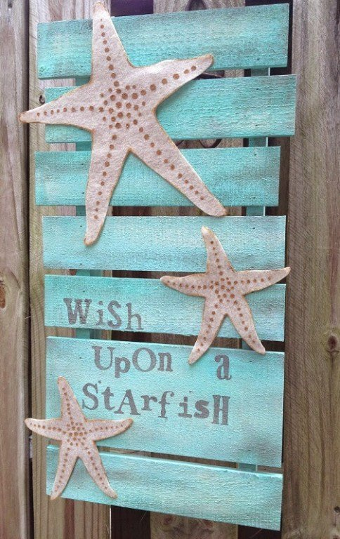 Wish Upon a Starfish Pallet Sign with Kunin Felt DecoArt and Walnut Hollow an Earth Day DIY
