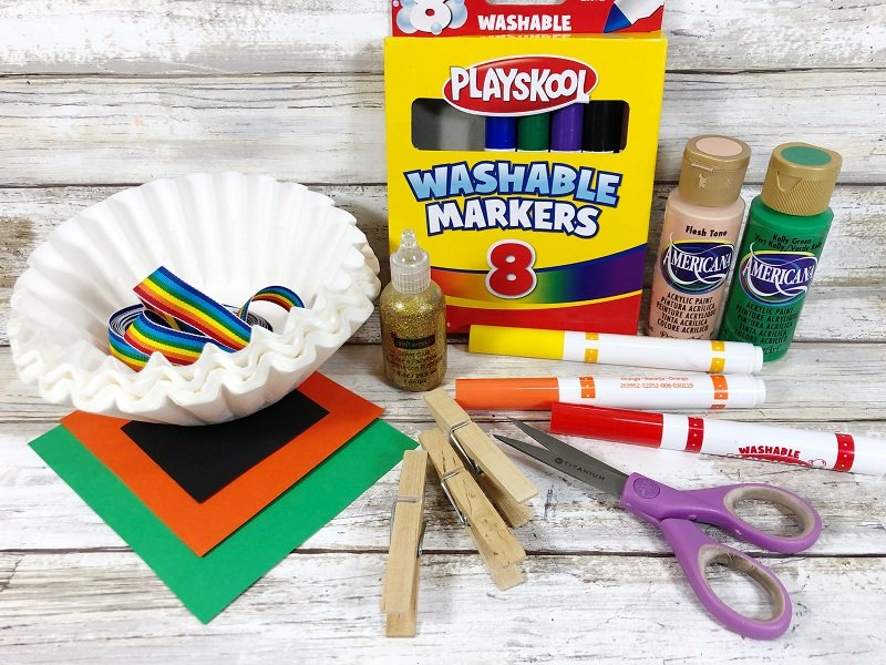 Materials needed to make coffee filter Leprechauns Creatively Beth #creativelybeth #leprechauns #stpatricksdaycrafts #kidscrafts #dollartreecrafts