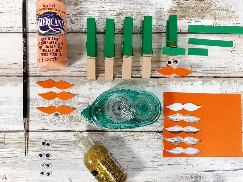Embellish clothespin with hat brim and painted nose Creatively Beth #creativelybeth #leprechauns #stpatricksdaycrafts #kidscrafts #dollartreecrafts