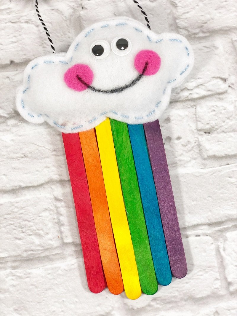 How to Create a Rainbow from Craft Sticks with Creatively Beth #creativelybeth #rainbow #craftweek2020 #craftsticks #kidscraft