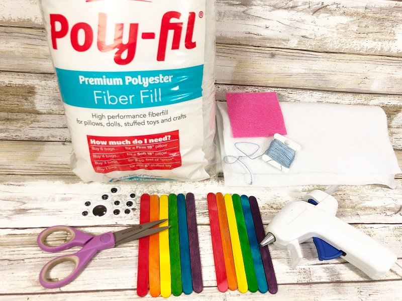 Materials needed to make a Rainbow Creatively Beth #creativelybeth #rainbow #craftweek2020 #craftsticks #kidscraft