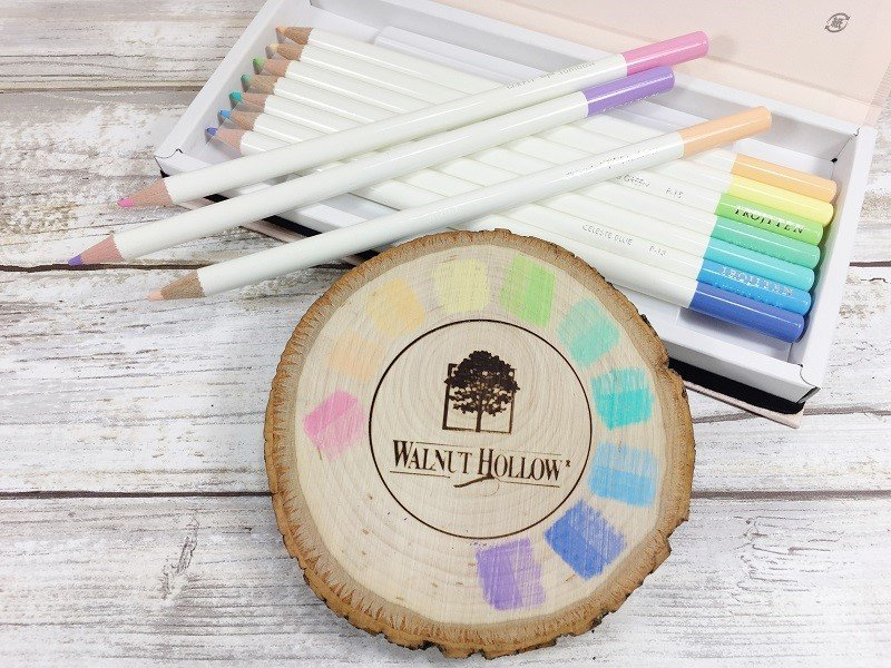 Create a color palette with Tombow Irojiten Colored Pencils Creatively Beth #creativelybeth #woodburning #springcrafts #woodslice #doodle #handlettering