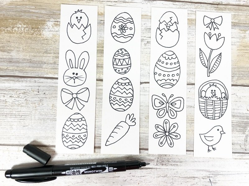 Draw the doodles or download the free printable Xyron Creatively Beth #creativelybeth #doodles #freedownload #printable #eastercrafts #xyron
