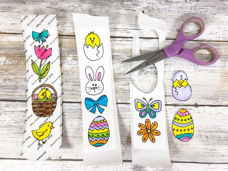 Peel liner and cut out stickers Xyron Creatively Beth #creativelybeth #doodles #freedownload #printable #eastercrafts #xyron