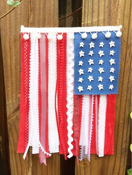 NEW-KUNIN-PATRIOTIC-FELT-RIBBON-AND-LACE-FLAG
