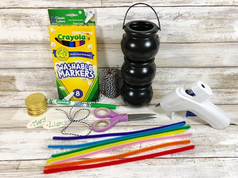 Materials to create a rainbow pot of gold Creatively Beth #creativelybeth #rainbow #potofgold #dollartree #stpatricksdaycrafts