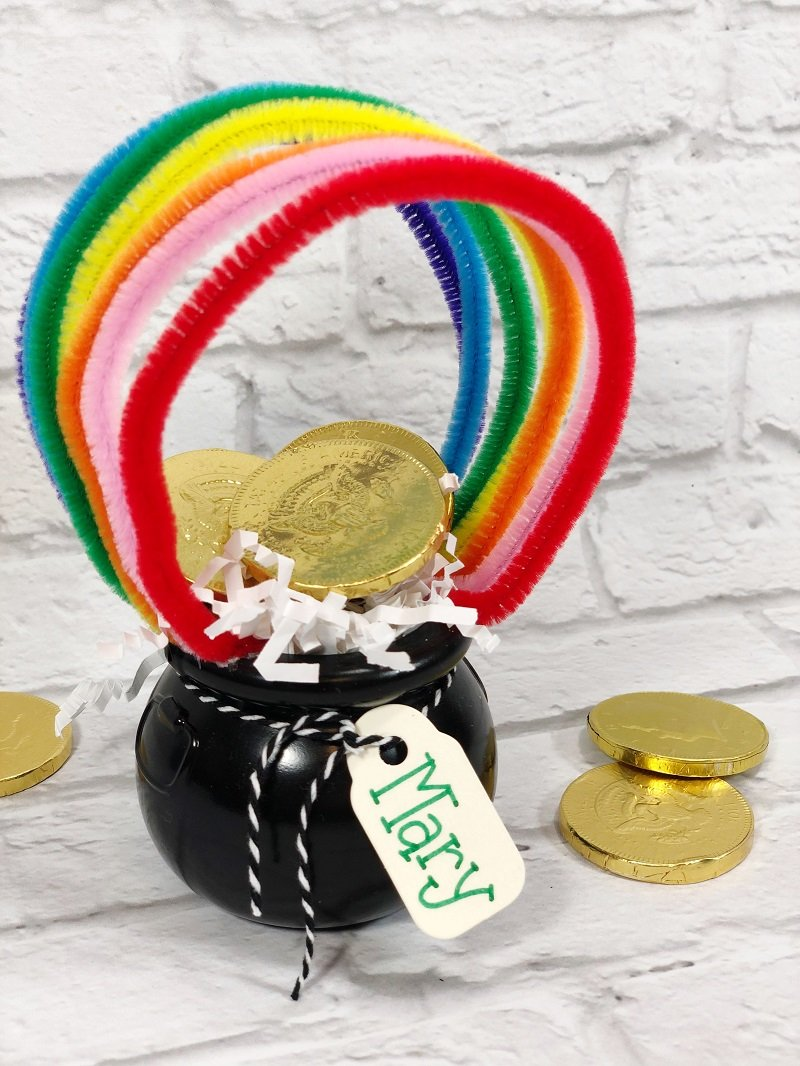 Rainbow Pot of Gold Craft with Dollar Tree supplies Creatively Beth #creativelybeth #rainbow #potofgold #dollartree #stpatricksdaycrafts
